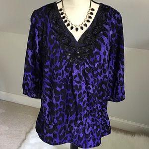💜🆕 Purple Embellished Animal Print Blouse 14/16